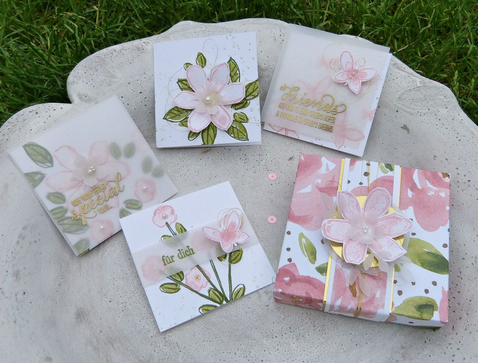 Cards in a box created by Global Artisan Design Team member Barbara Meyer featuring the Garden in Bloom Stamp Set and English Garden Designers Series Paper.