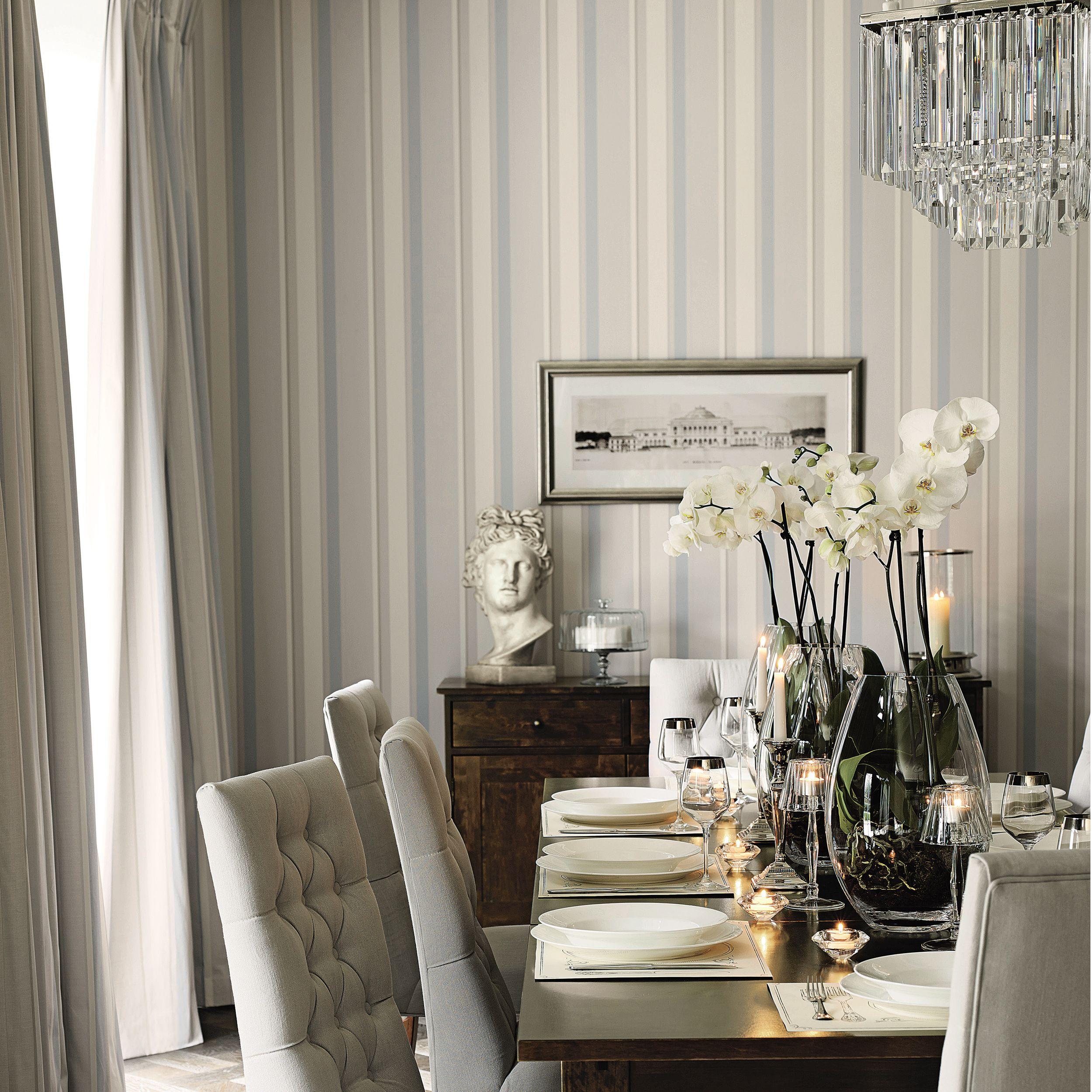 Room · Eaton Stripe Dove Grey/Seaspray Blue Wallpaper Part 93