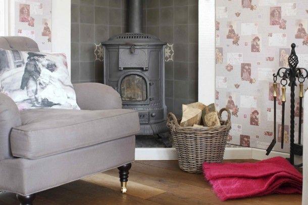 Tapete Rasch Textil Vintage creme grau 138128 Vintage Tapeten - wohnzimmer creme rot