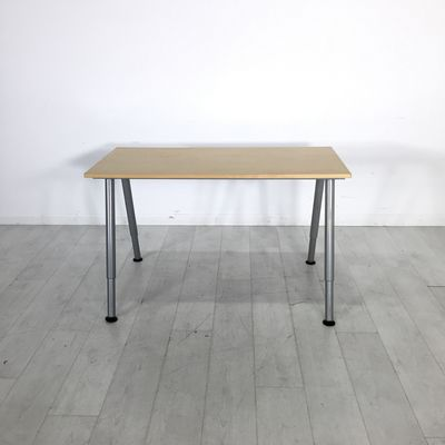 Studio Workshop Table. - Simple and efficient work desk with a light wood top and metal legs- Great for professional or personal projects