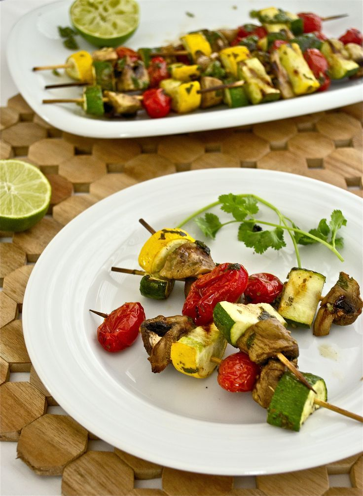 grilled veggie kebabs with cilantro chimichurri marinade