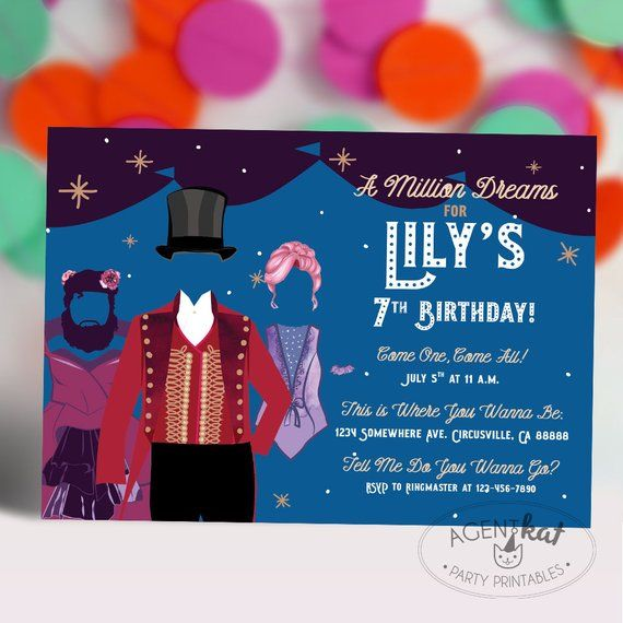 circus party invitation a million dreams tent stars birthday