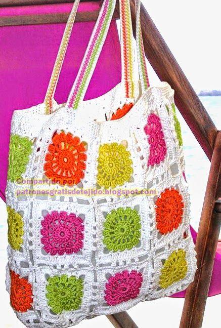 Patrón de bolso para la playa con grannys ganchillo | сумки вязаные ...