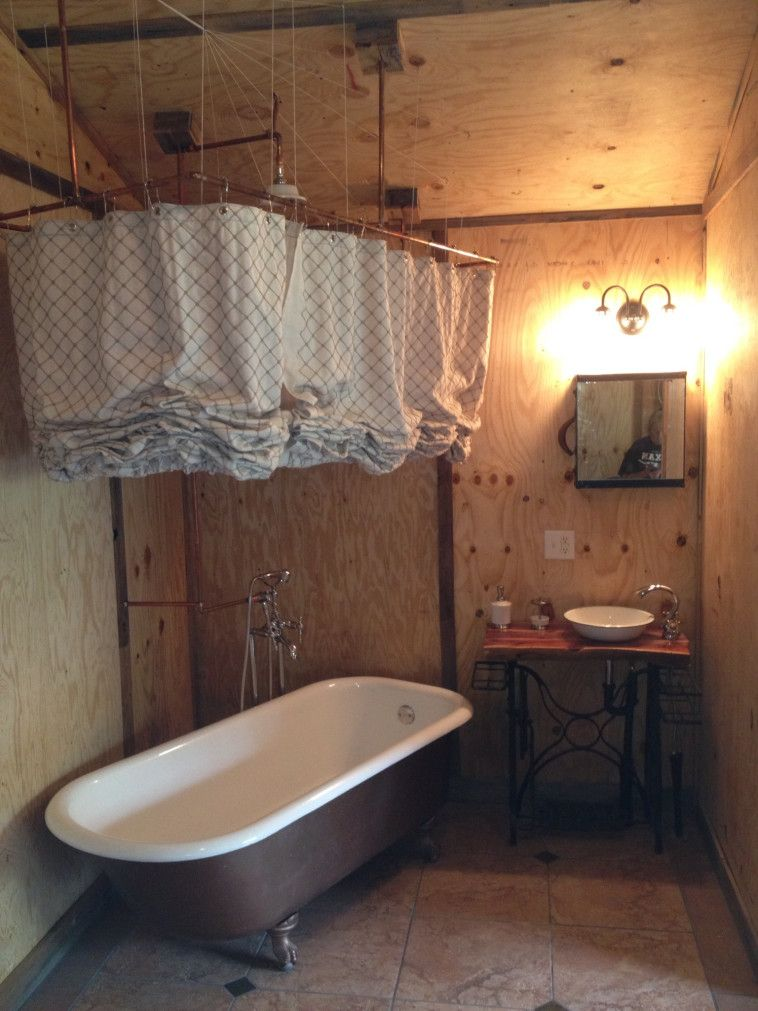 Unique Roller Up Shower Curtain Which Equipped With Rectangular Hanging Brass Rod In A Rustic Bathroom Clawfoot Tub Enclosure Plus