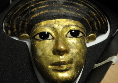 death mask, made around 3,000 years ago, is part of Wigan's collection of priceless treasures from ancient Egypt.