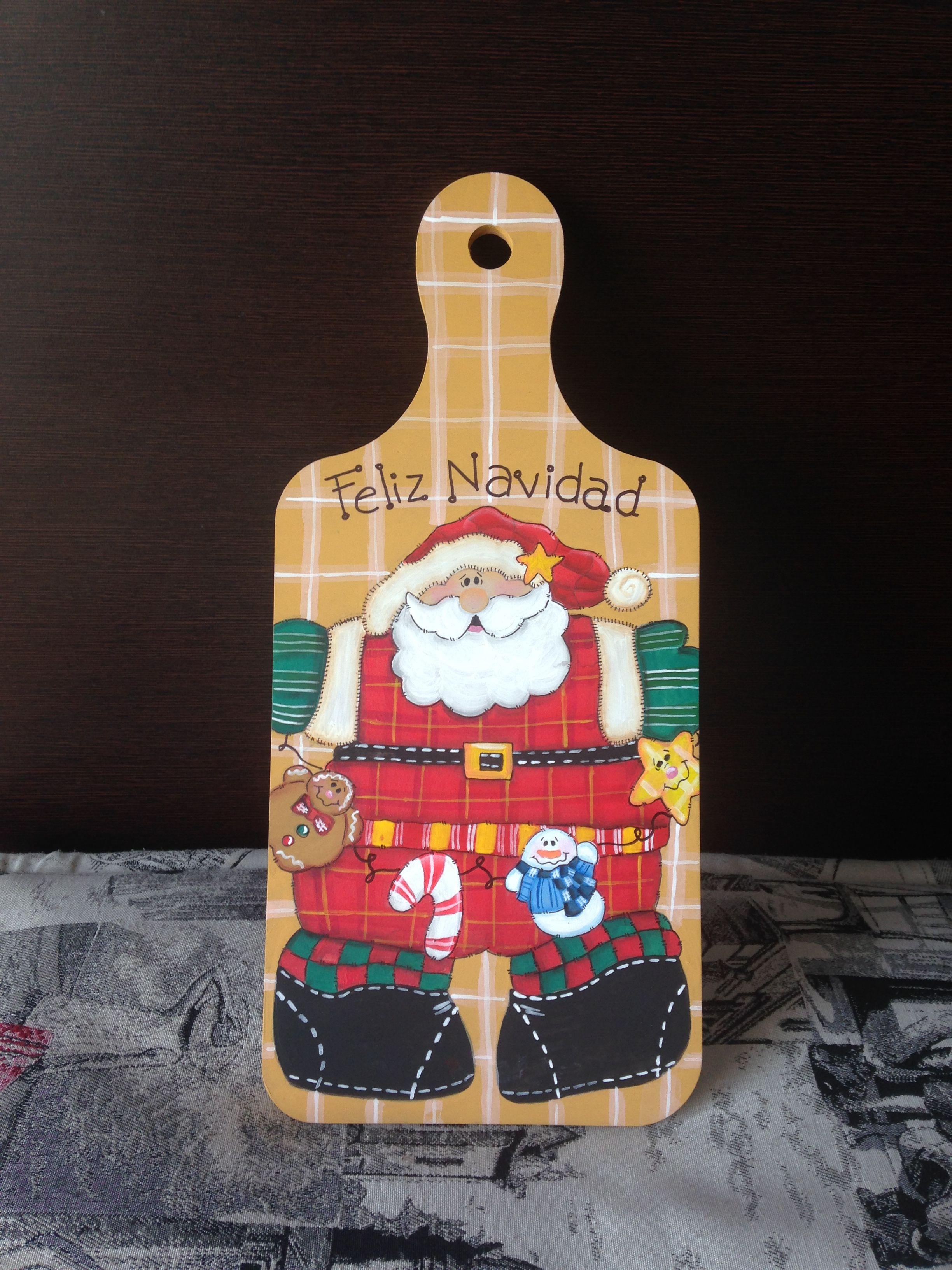 Tabla de picar adorno para cocina Navidad santa Claus Christmas