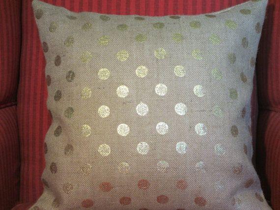 Burlap Pillow Cover GOLD Metallic Dot door ComfortsofHomeDecor, $25.00