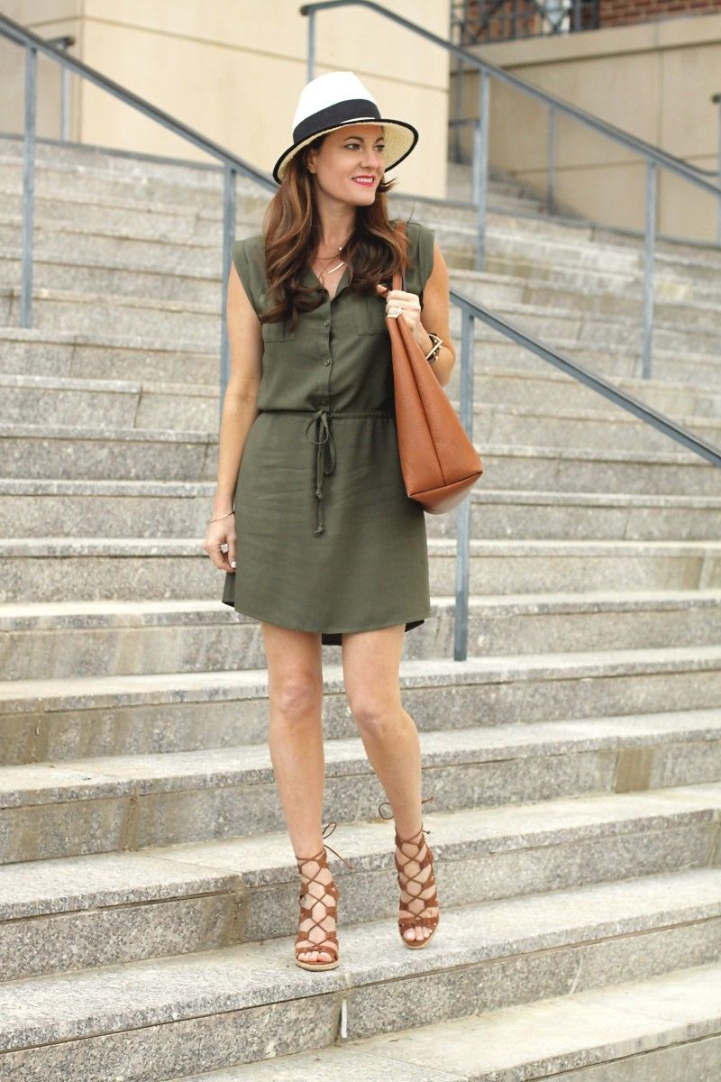 1111f39e40 Shirt dress outfit idea for spring on Peaches In A Pod blog. Olive green  shirt dress