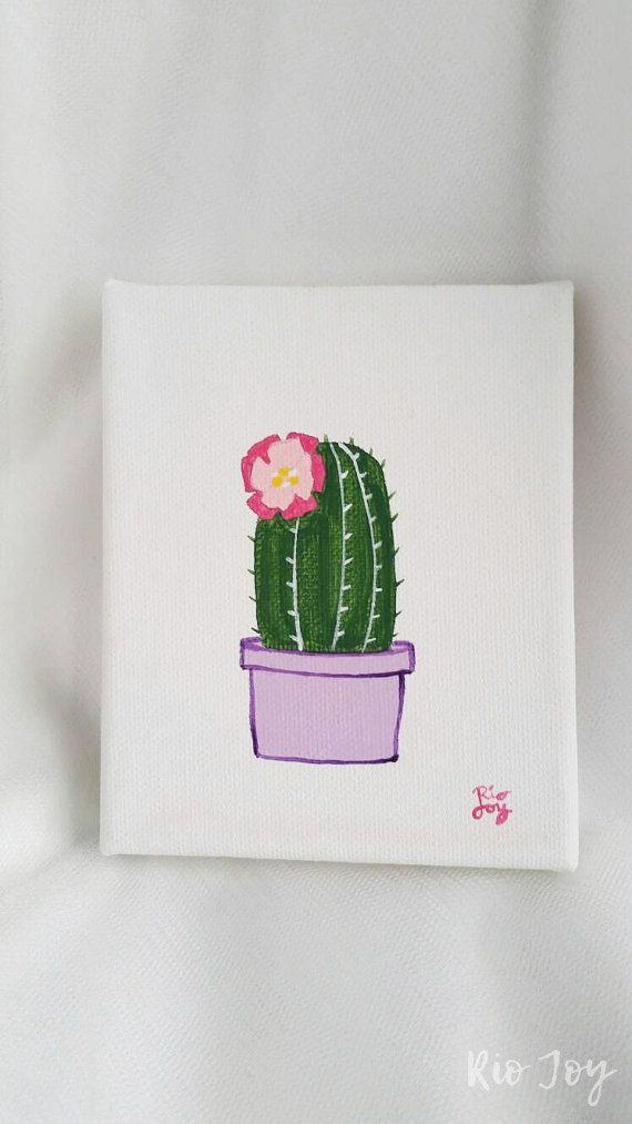 Cactus Painting Flower Modern Small Canvas Rio Joy By RioJoy