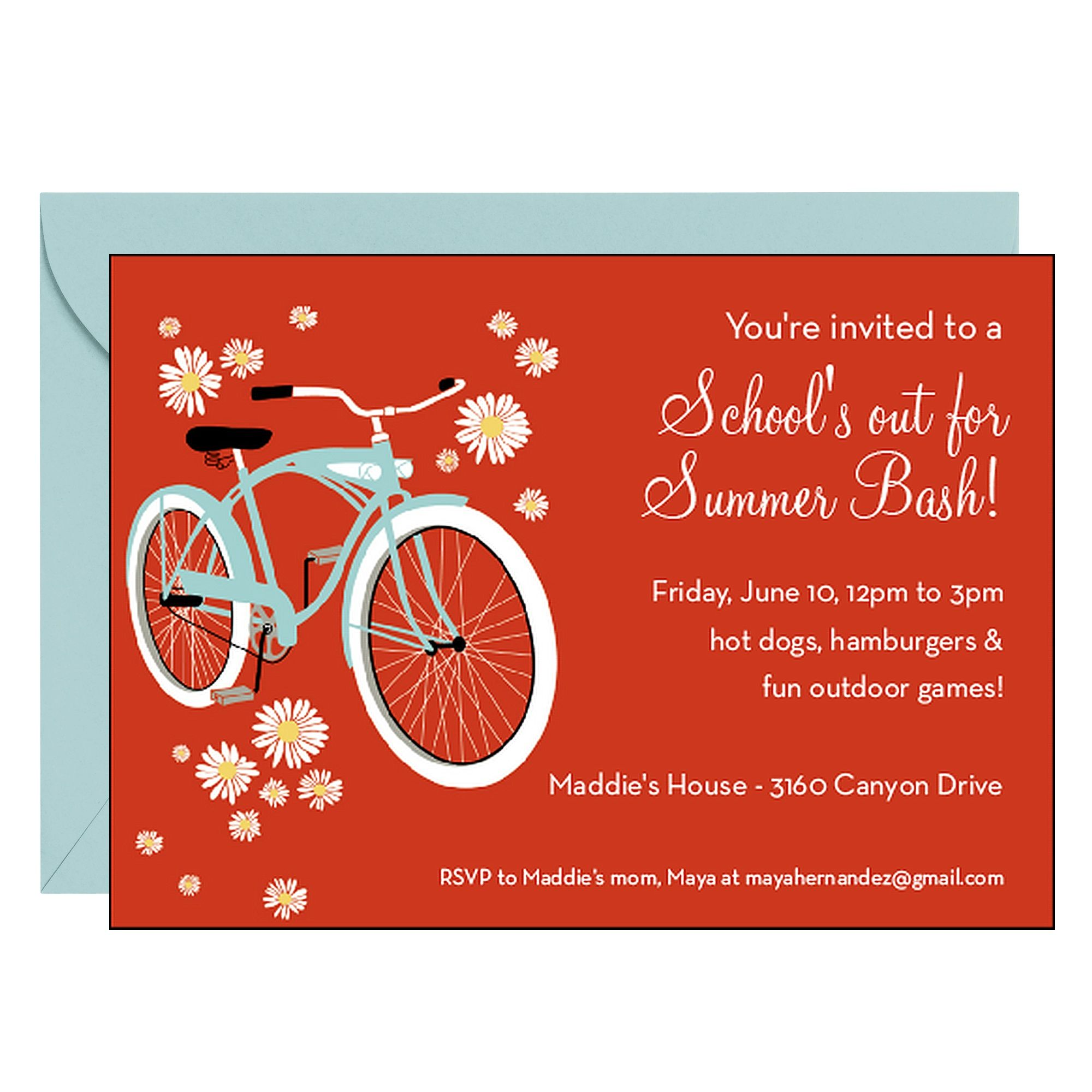 Bicycle Party Invitation - You\'re invited to join us for a send-off ...