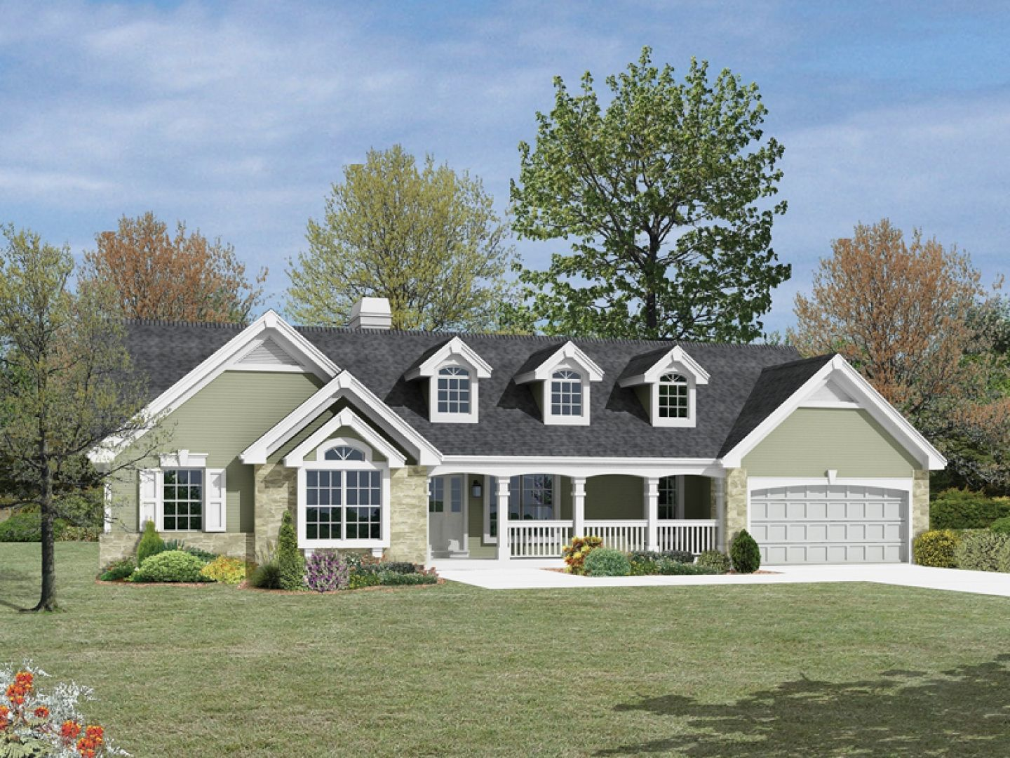 Southern style house plans with wrap around porches for Ranch style farmhouse plans