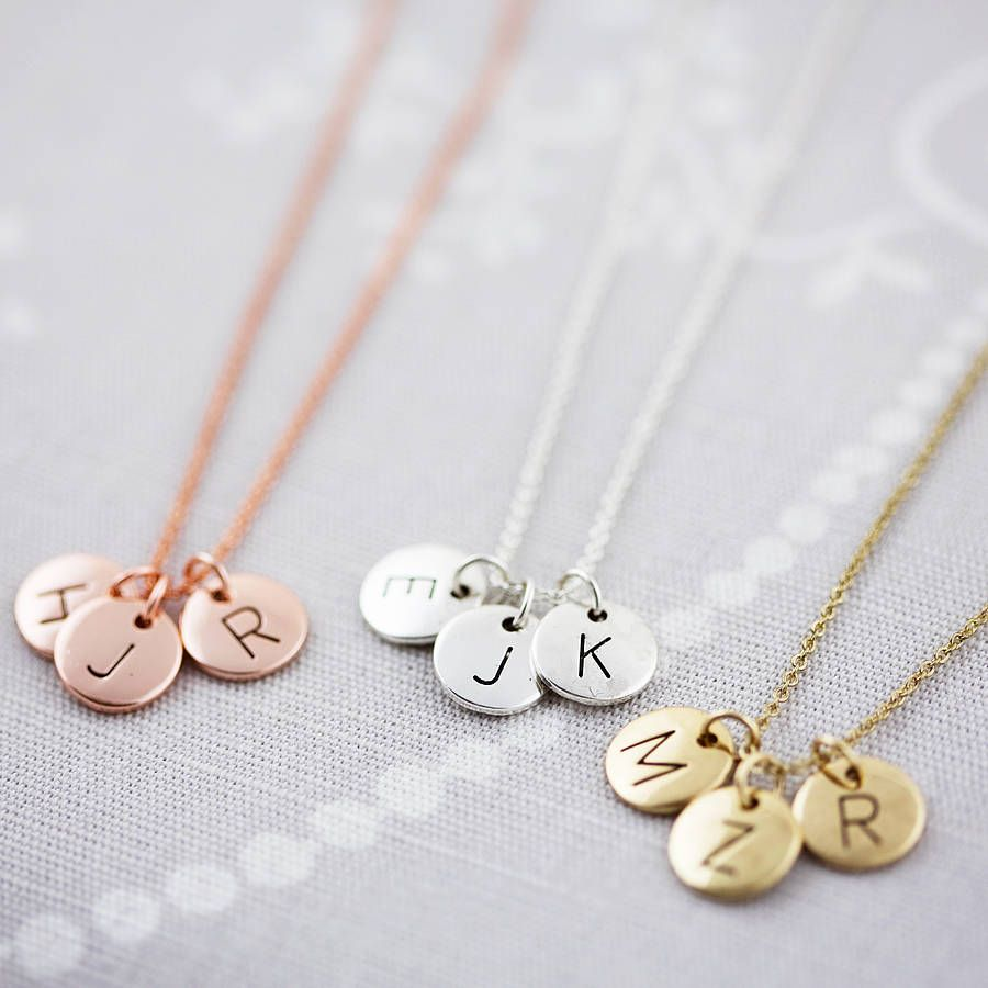 Triple Letter Disc Necklace My Children Initials And