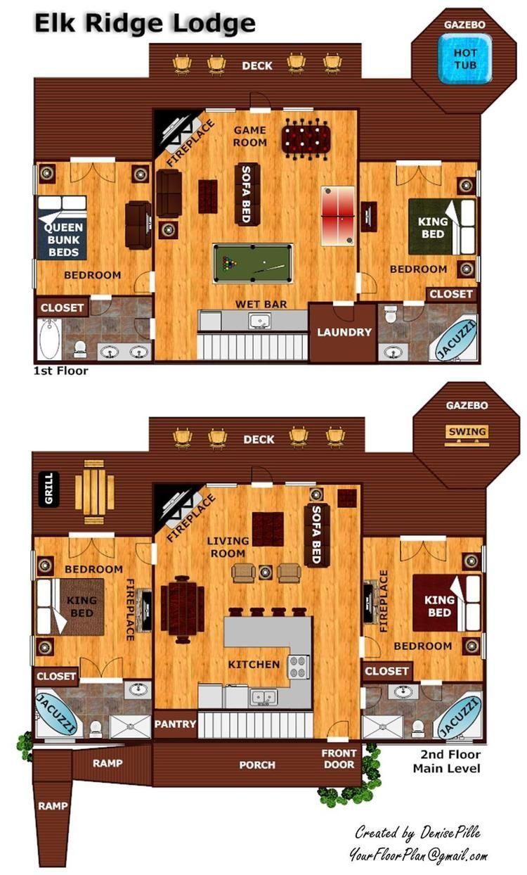 Elk Ridge Lodge Luxury 4 Bedroom Gatlinburg Cabin Rental Cabin Floor Plans Log Cabin Floor Plans One Room Cabins