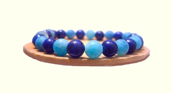 8mm Blue Veins Agate Stretch Bracelet, Lapis Lazuli Bracelet, Natural Stones Handmade Bracelet, Healing Chakra Yoga Gemini Virgo Bracelet de ArtGemStones en Etsy