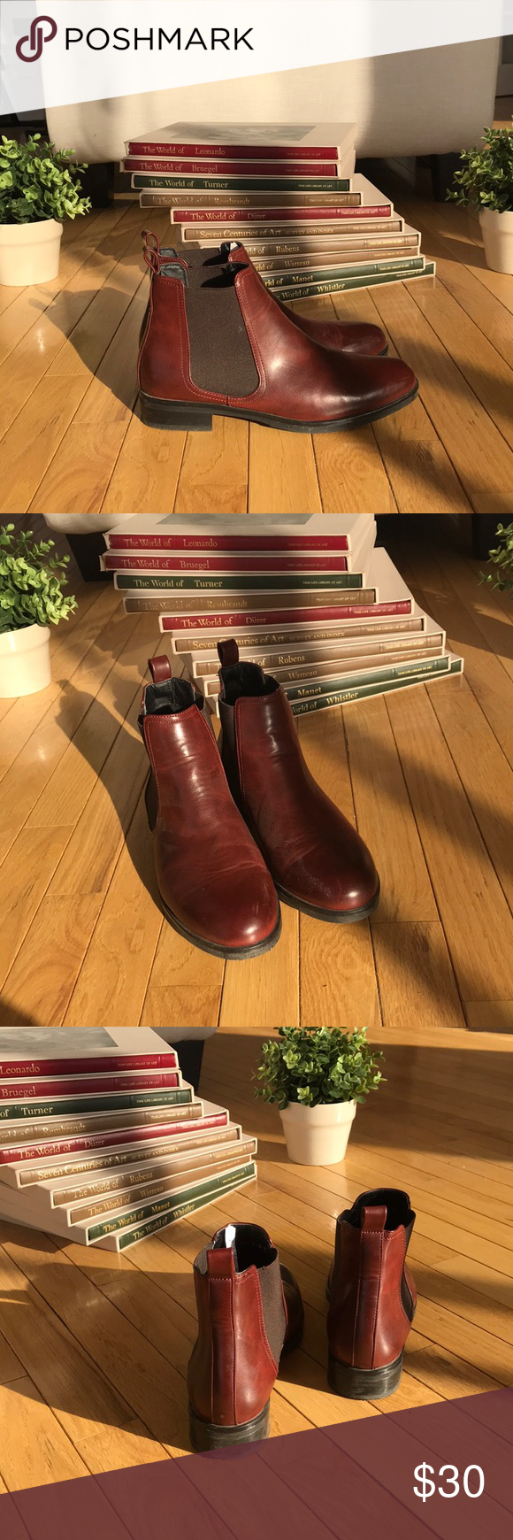 4ac6d79dfe4ea0 Akira Chelsea Boots (Maroon red brown)- worn once Beautiful Chelsea boots  from Akira