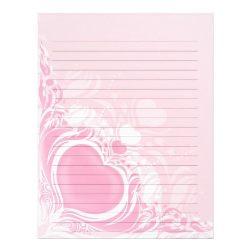 Pretty Light Pink Heart Swirl Wedding Lined Paper Personalized
