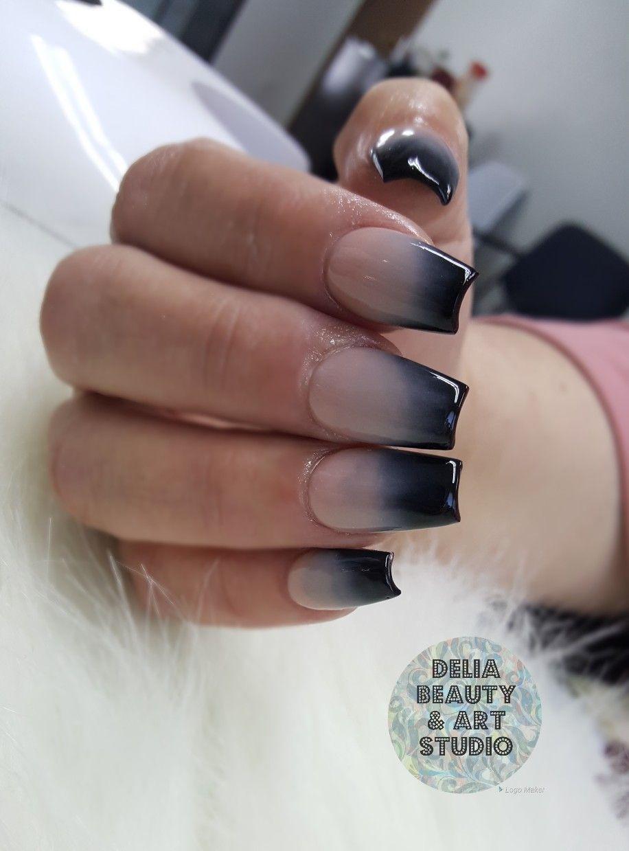 All Powder Acrylic Nails Ombre Nails Black Ombre Nails Coffin Shape Nail Delia Beauty Art Studio Nail Art Black Ombre Nails Ombre Nails Coffin Shape Nails