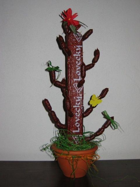 kaktus z loveckého salámu-dárek pro pány labužníky