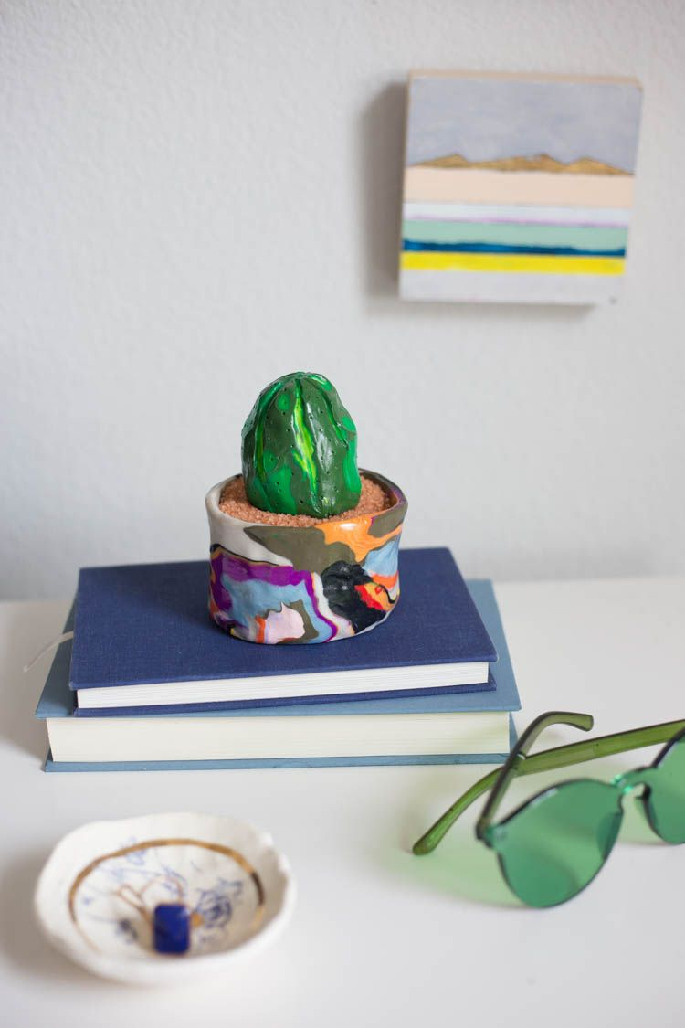 Marbled Pot and Clay Cactus DIY - Live Free Creative Co.