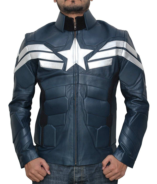 America Men's Captain Winter Blue Leather Jacket Best