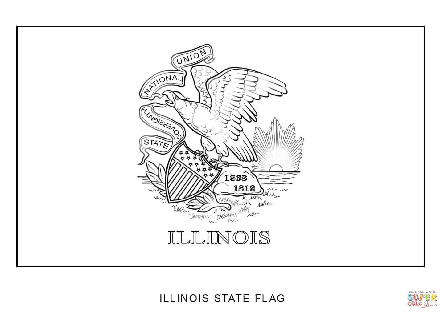 Flag Of Illinois Super Coloring Flag Coloring Pages Oregon State Flag Washington State Flag