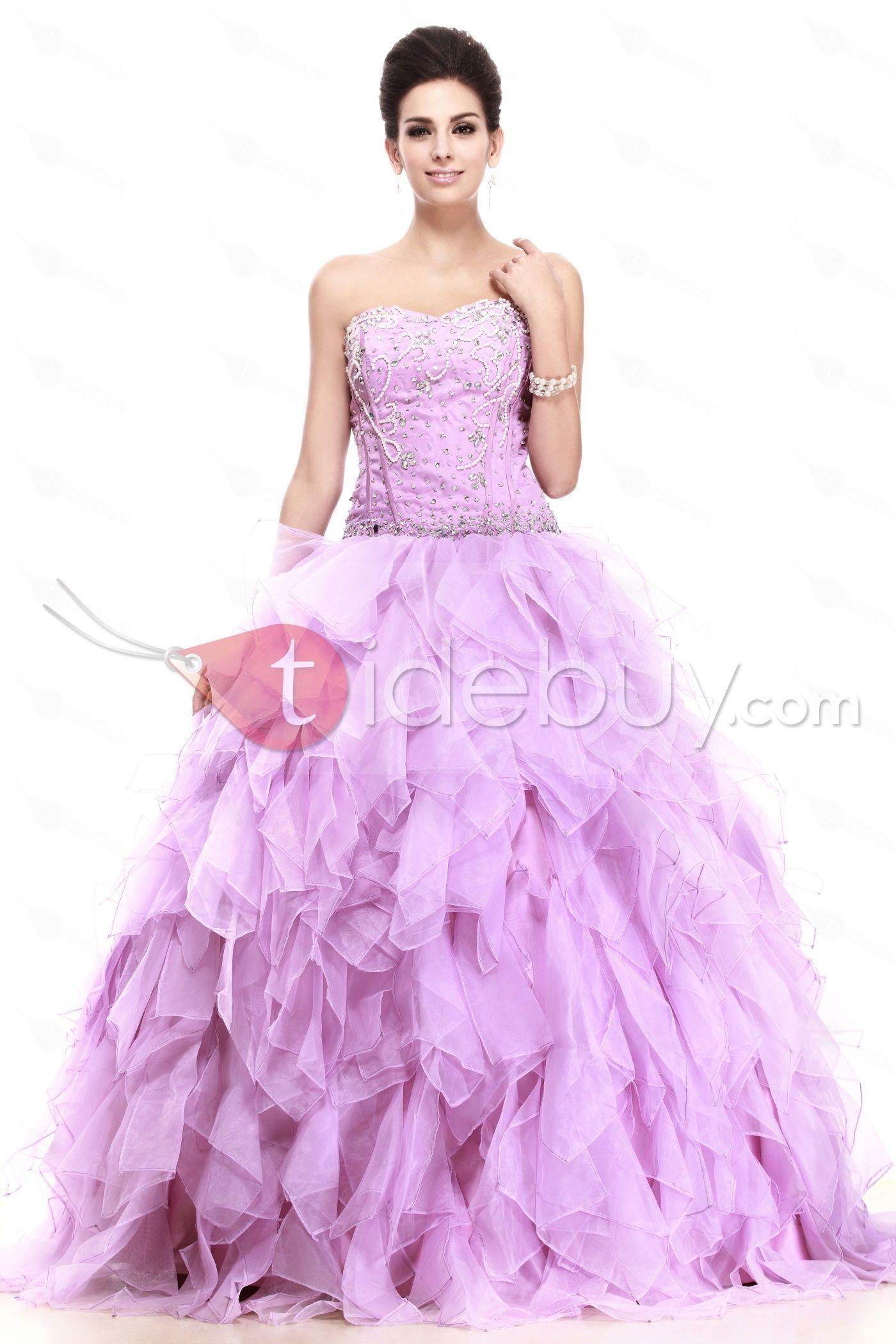 Brillante Vestido de Prom Silueta Línea A Largo al Piso Ruffles ...
