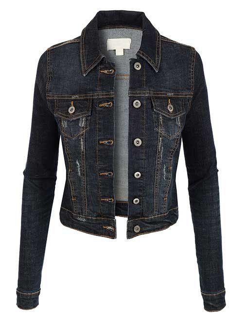 c33ea1ed6a A must have staple in your closet this Spring....a dark blue denim jacket!  We love the distressed worn look of this one! Paired over just about  anything for ...