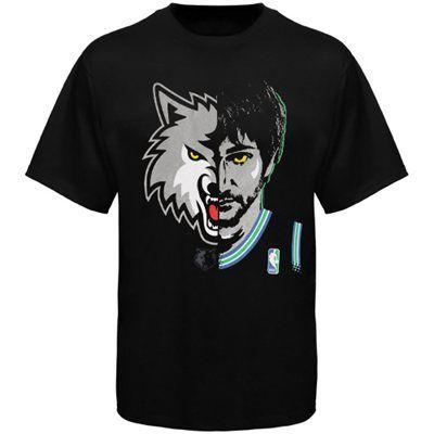 Majestic Ricky Rubio Minnesota Timberwolves Logo Man T-Shirt - Black