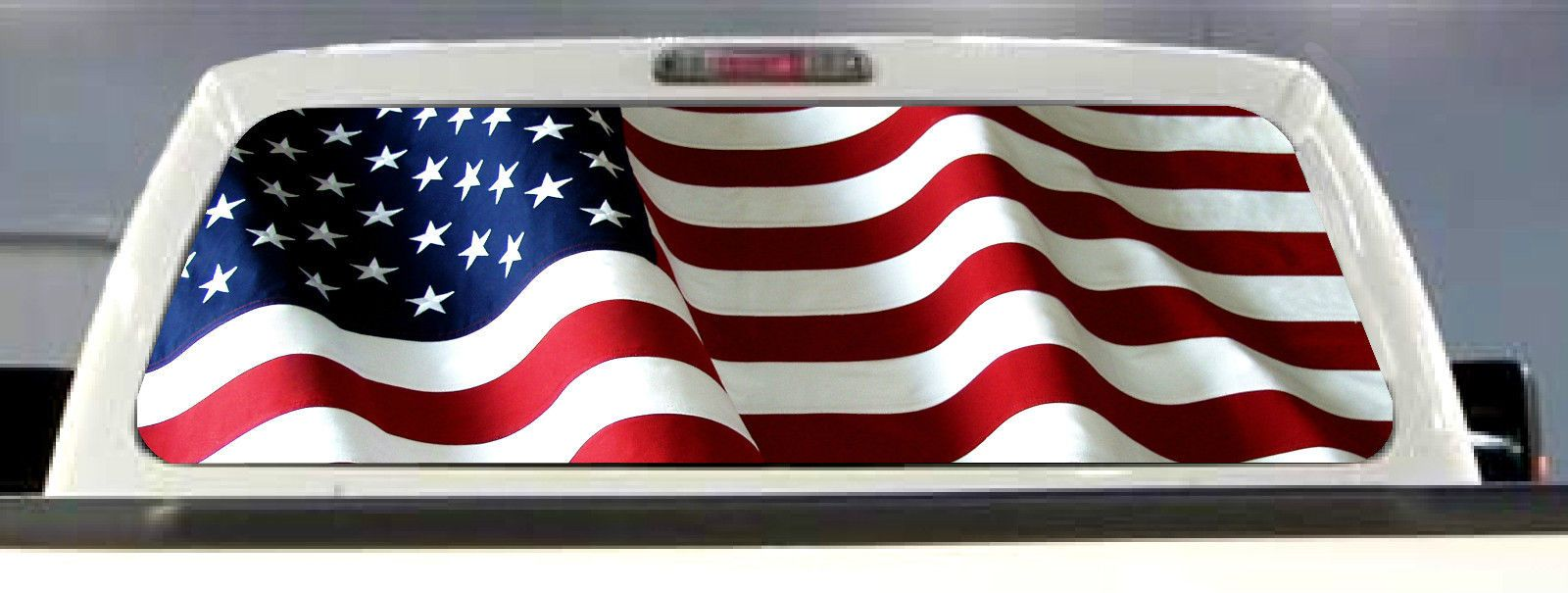 American flag pick up truck back window graphic decal perforated vinyl tint ebay
