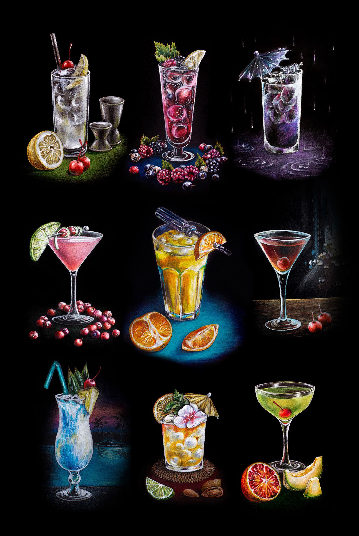 Classic Cocktails Season 5 An Art Print By Anna Suslina Black Paper Art Colored Pencils Cocktail Art Black Paper Art