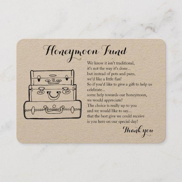 Honeymoon fund request wedding insert card | Zazzle.com