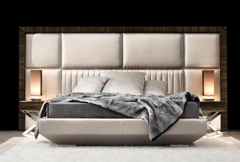 Designer Headboard macassar ebony framed panelled bed art.kim - detail of macassar