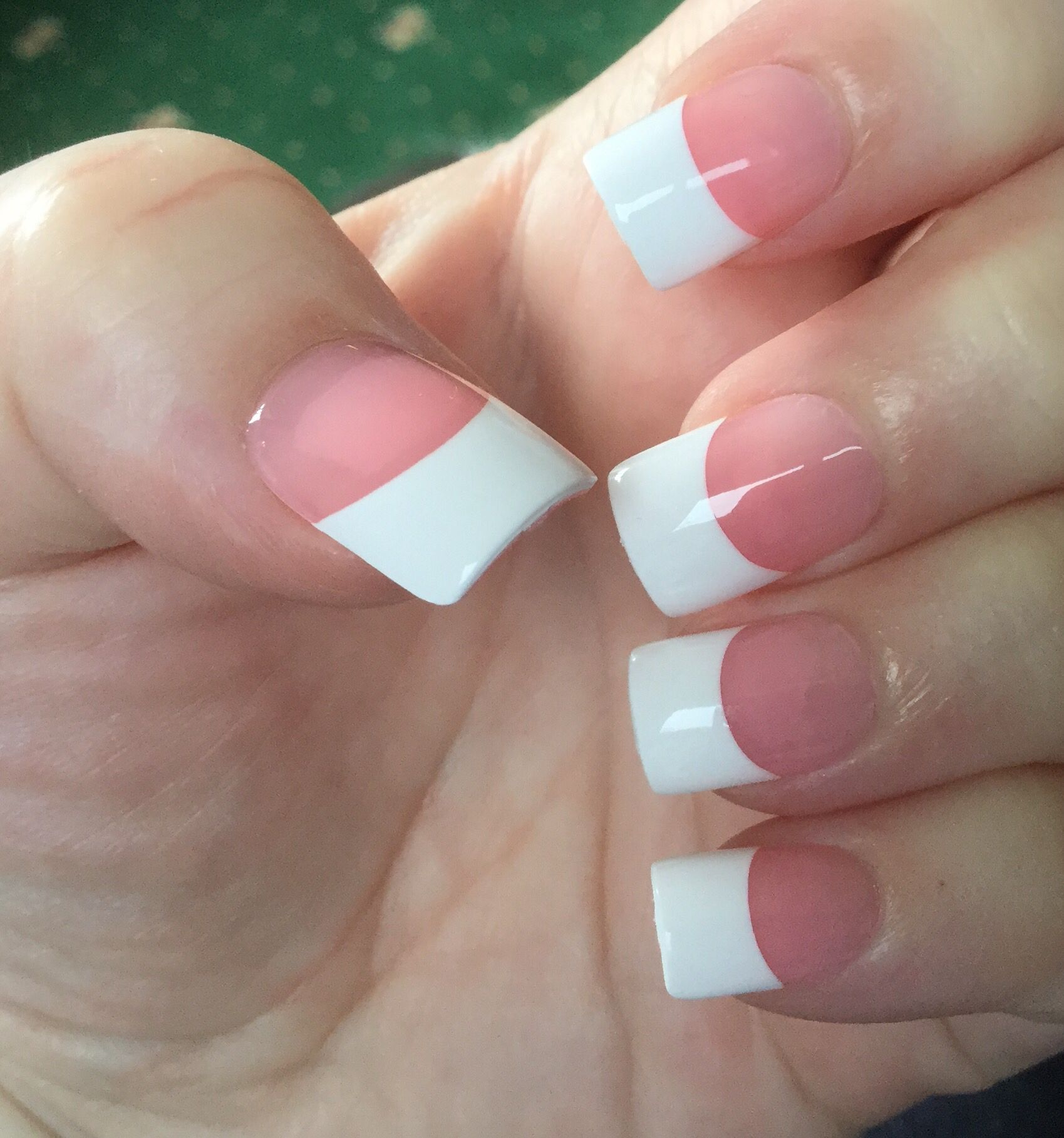 Cockermouth French Manicure Nails Rhinestone Nails French Nails