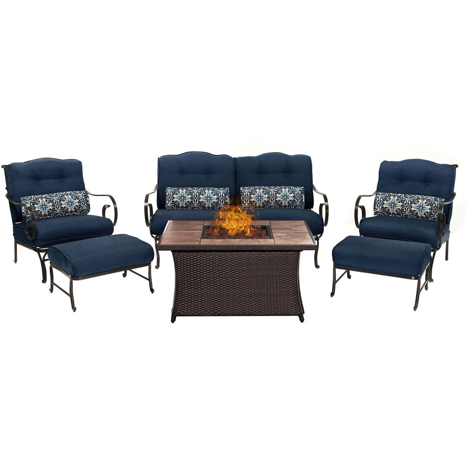 Hanover outdoor oceana piece lounge set in navy blue with lp gas