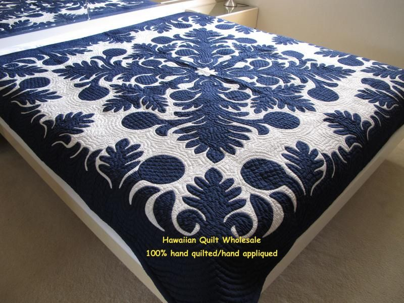 Navy And White Quilted Bedding Hawaiian Quilt Whole