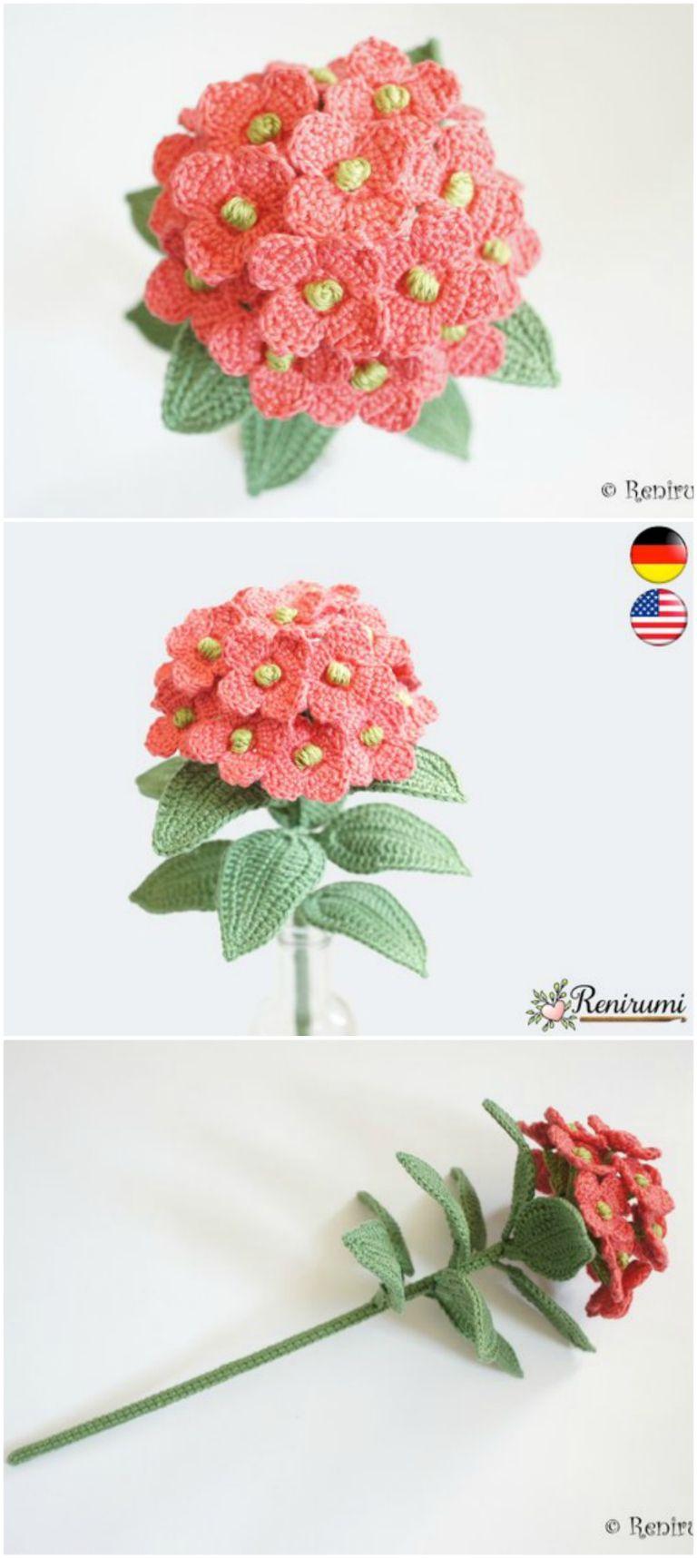Crochet Hydrangea Flower Pattern Free Video Tutorial  646c35677ad40