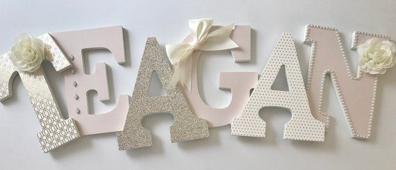 Blush pink gold and ivory baby girl nursery letters, teagan, pink and ivory baby letters, gold nurse images