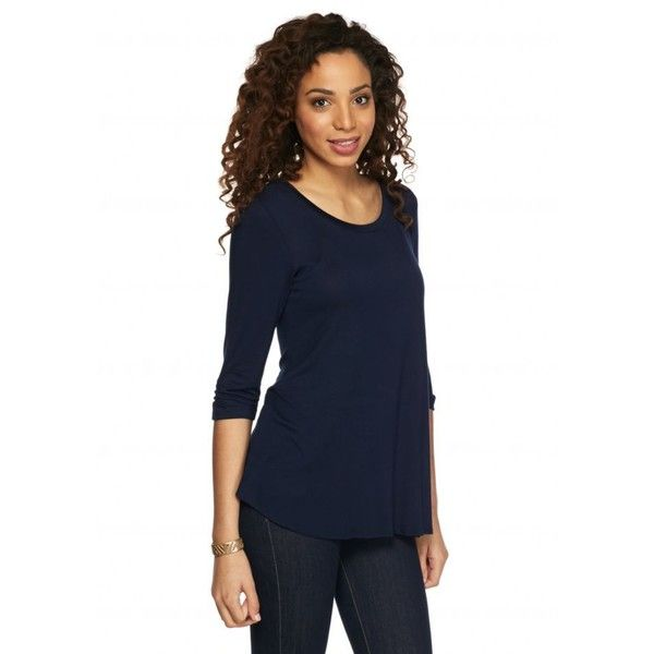 New Directions Dark Navy Solid Knit Swing Top - Women's ($25) ❤ liked on Polyvore featuring tops, dark navy, 3/4 length sleeve tops, scoopneck top, scoop neck top, blue knit top and trapeze top