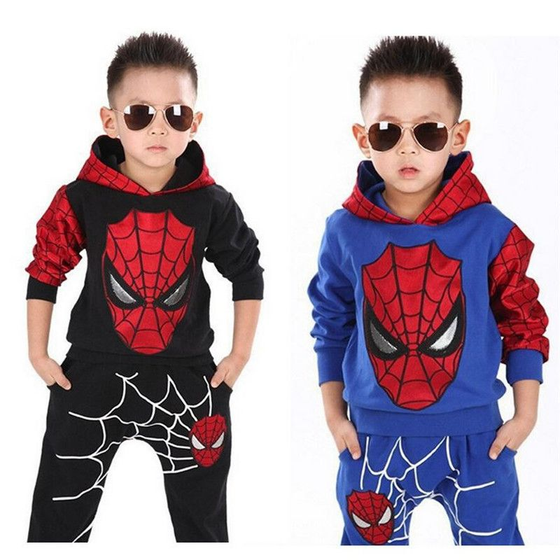 new Spiderman cotton Top Tshirt T-Shirt 3//4 pants outfit Set boys kids size 6