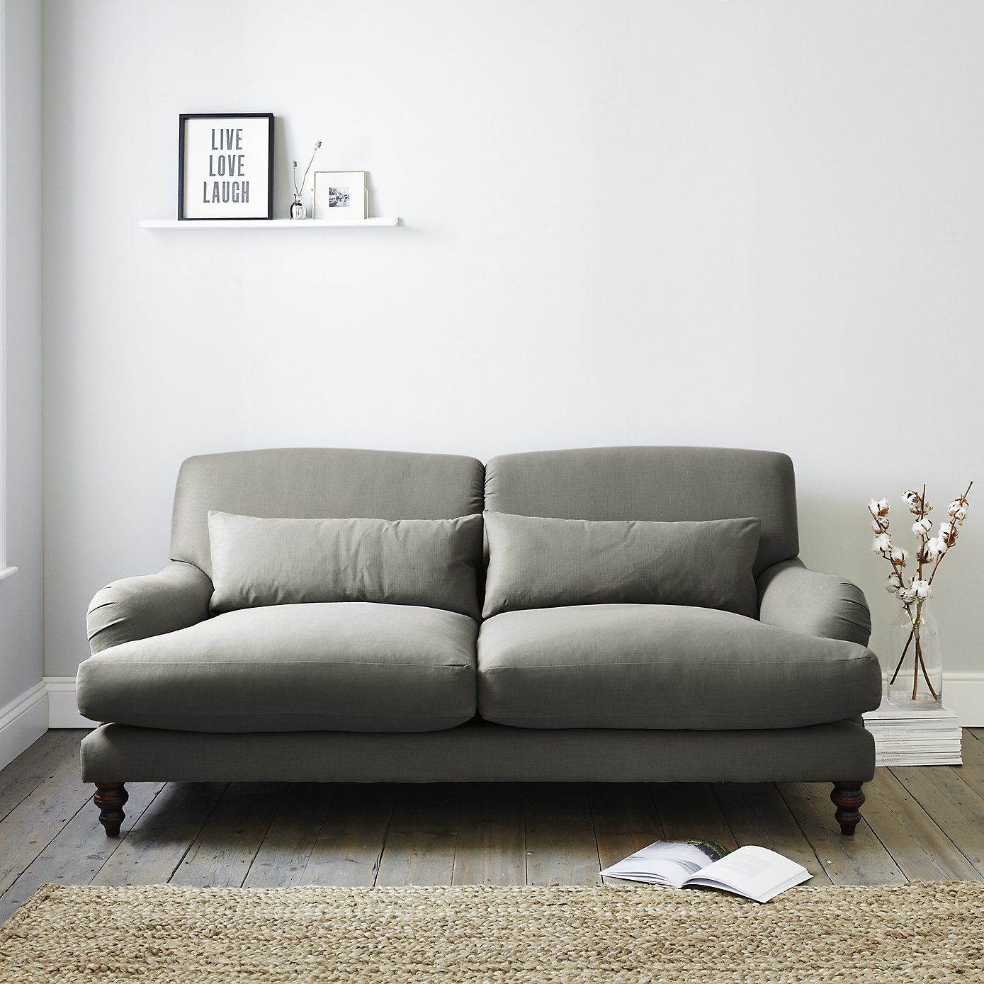 Petersham Sofa Cotton Pearl Silver or Grey