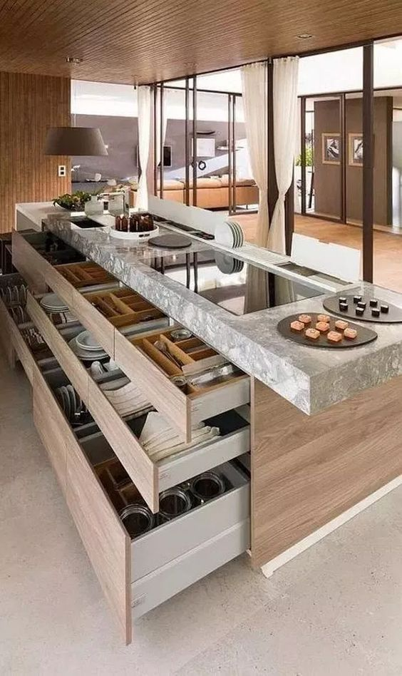 30 Kitchen Island Ideas to add that perfect blend of drama & design - Hike n Dip