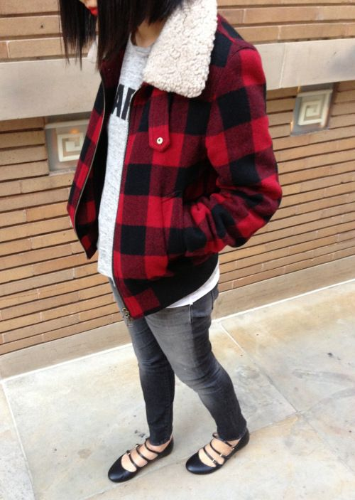 db37badbec3 ami shearling trimmer red plaid bomber jacket