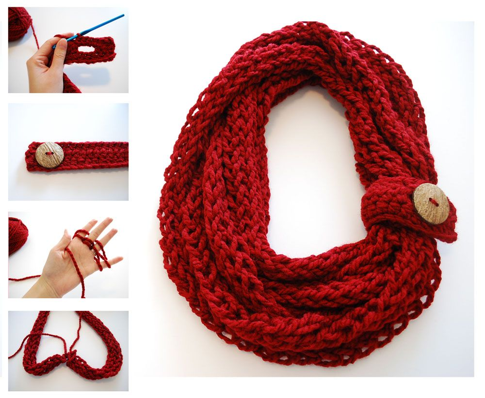 Finger Knit Infinity Scarf Finger knitting, Crochet infinity scarves and Fr...
