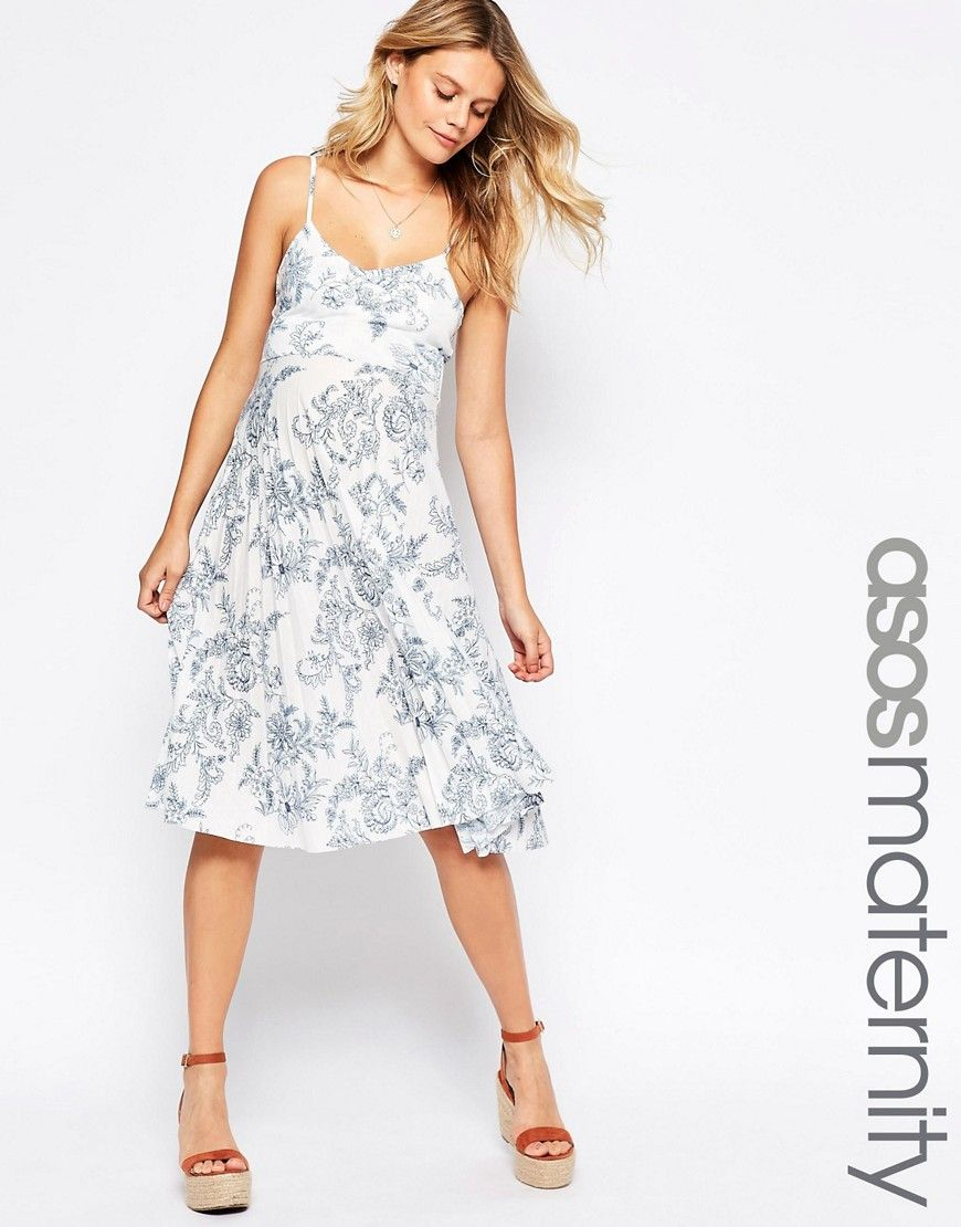 8cf24df6c9 Image 1 of ASOS Maternity Sundress in Pleated China Print
