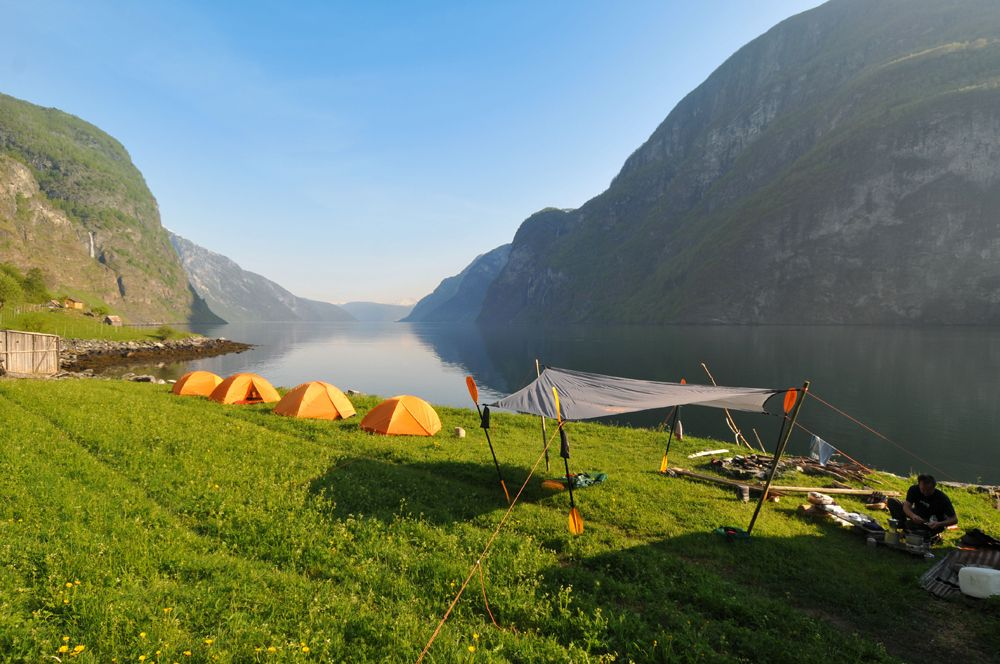An early morning along the Aurlandsfjord. Kayaking in the Norwegian fjords
