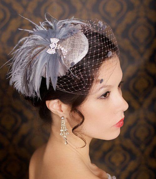 Gray Taupe Fascinator Hat Bridal Birdcage Veil Headpiece Wedding Hair Accessories