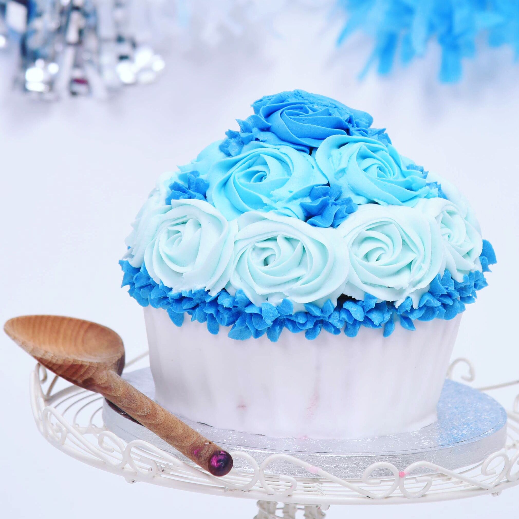Another Cake Smash Giant Cupcake For A Boys 1st Birthday Blue
