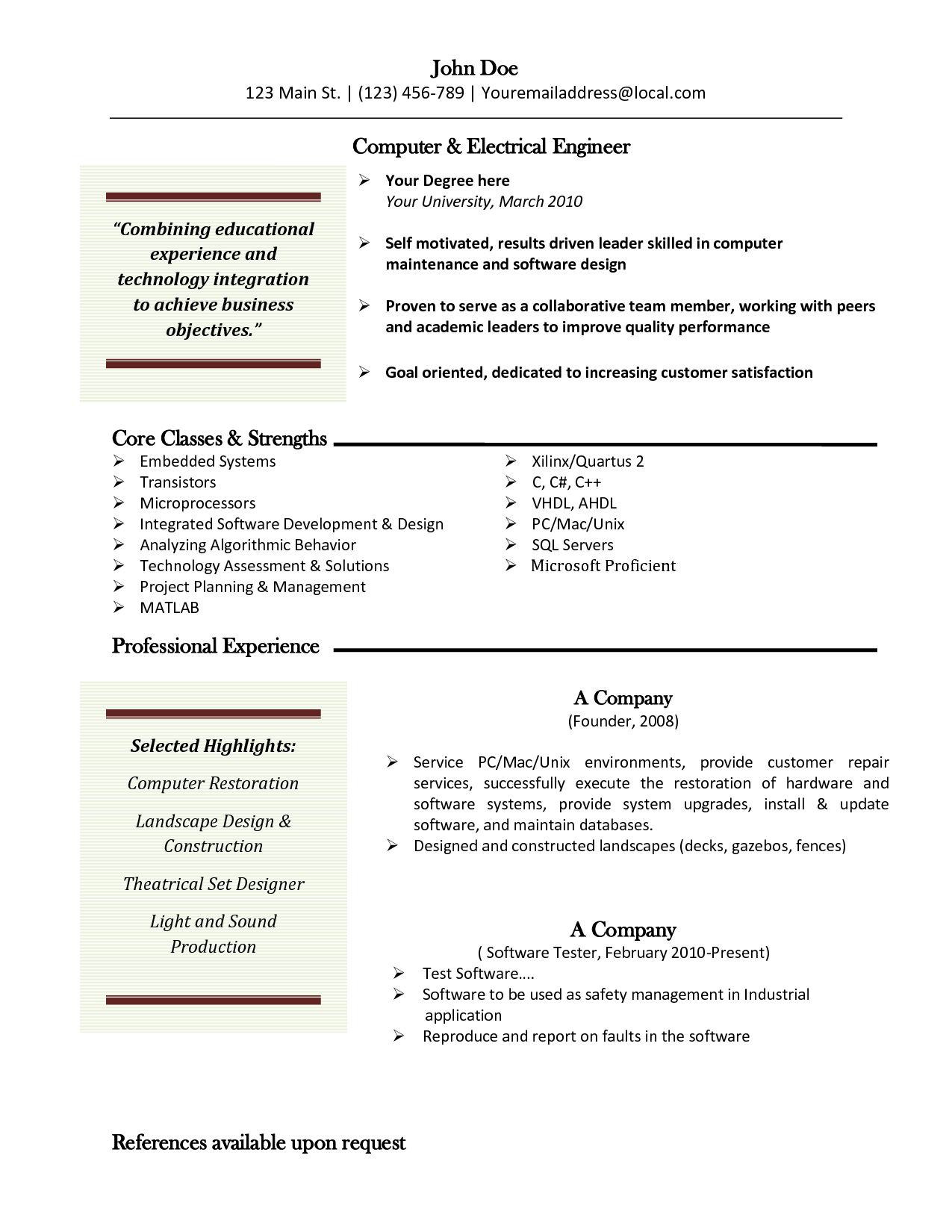Computer Engineer Resume College Student Resume Best Template Gallery  Httpwww