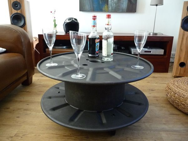 Touret metal table basse indus loft 1 salon pinterest m taux tables et - Table basse metallique ...