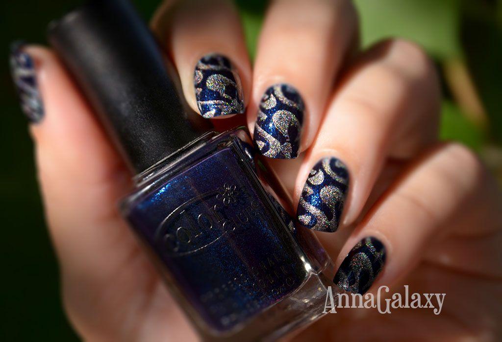 Anna Galaxy: Color Club professional nail lacquer Williamsburg + стемпинг с диском Konad m85
